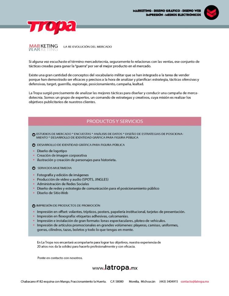 productos y servicios Tropa